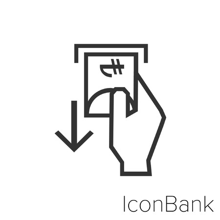 Icon Bank taking out of the ATM lira in black and white Illustration. Çizim