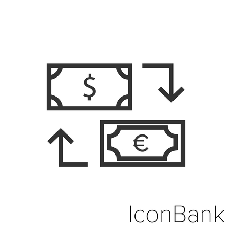 Icon Bank Exchange Dollar to Euro in black and white Illustration.