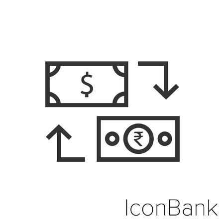 Icon Bank Exchange Dollar to Rupee in black and white Illustration.
