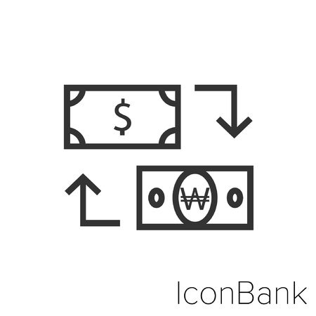 Icon Bank Exchange Dollar to Won in black and white Illustration.