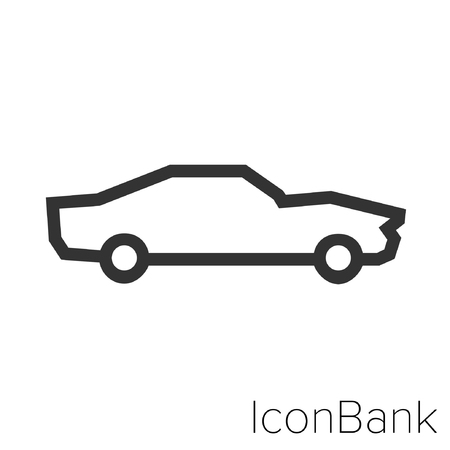 Icon Bank classic car in black and white Illustration. Çizim