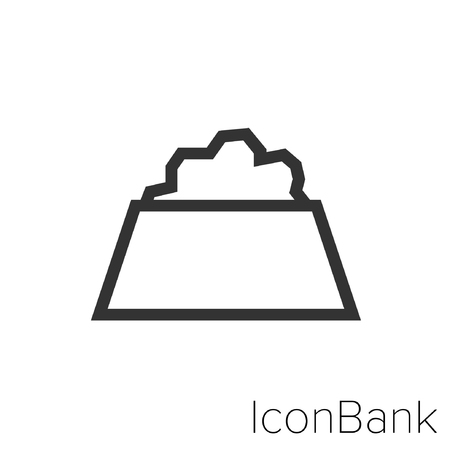 Icon Bank dog food dish in black and white Illustration. Illustration