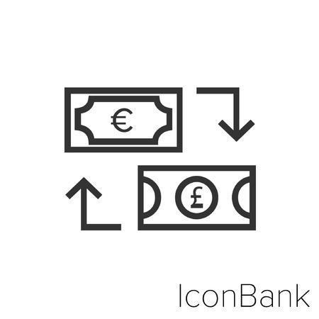 Icon Bank Exchange Euro to Libra in black and white Illustration.