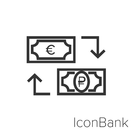 Icon Bank Exchange Euro to Rublo in black and white Illustration.