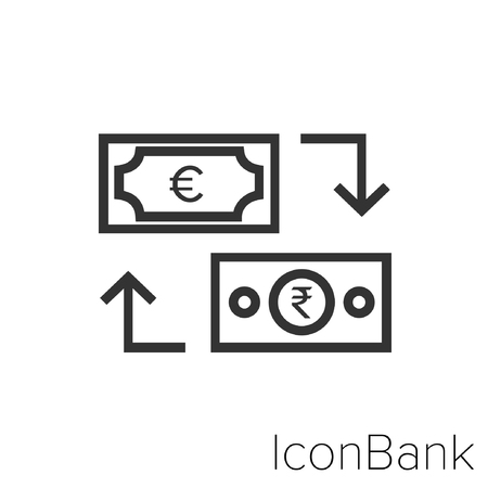Icon Bank Exchange Euro to Rupee in black and white Illustration.