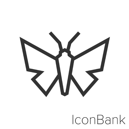 Icon Bank butterfly in black and white Illustration.