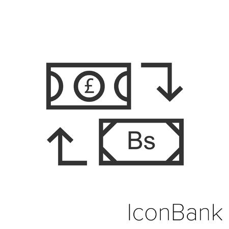 Icon Bank Exchange Libra to Euro in black and white Illustration.