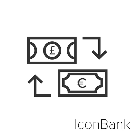 Icon Bank Exchange Libra to Euro in black and white Illustration.