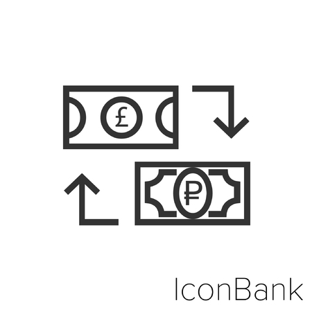 Icon Bank Exchange Libra to Rublo in black and white Illustration. Illustration