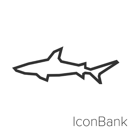 Icon Bank shark in black and white Illustration.