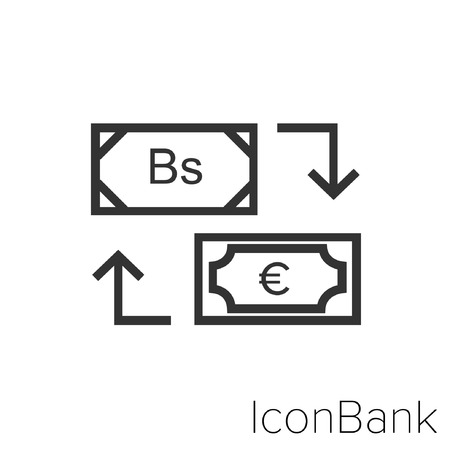 Icon Bank Exchange Bolivar to Euro in black and white Illustration.