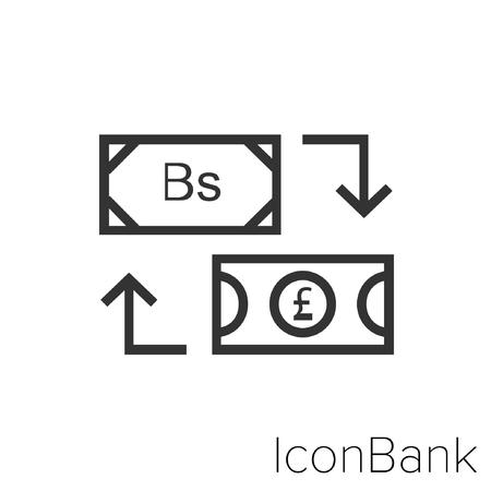 Icon Bank Exchange Bolivar to Libra in black and white Illustration.