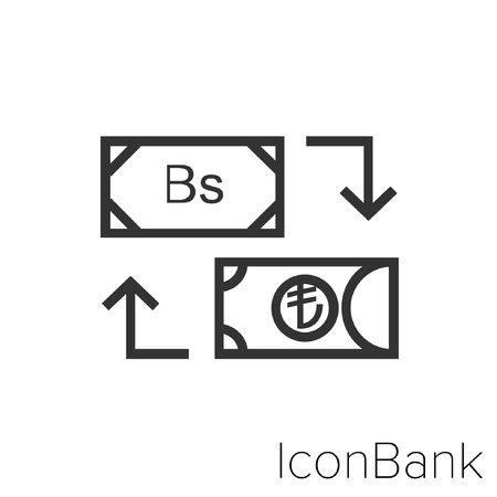 Icon Bank Exchange Bolivar to Lira in black and white Illustration. Çizim