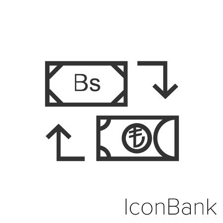 Icon Bank Exchange Bolivar to Lira in black and white Illustration. Illustration