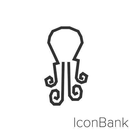 Icon Bank octopus in black and white Illustration.
