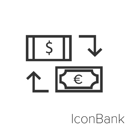 Icon Bank Exchange Dollar Canadian to Euro in black and white Illustration.