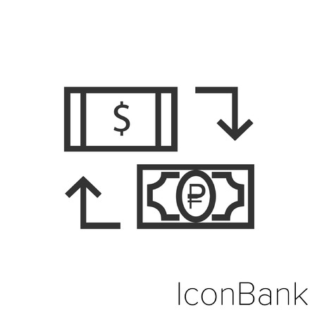 Icon Bank Exchange Dollar Canadian to Rublo in black and white Illustration.