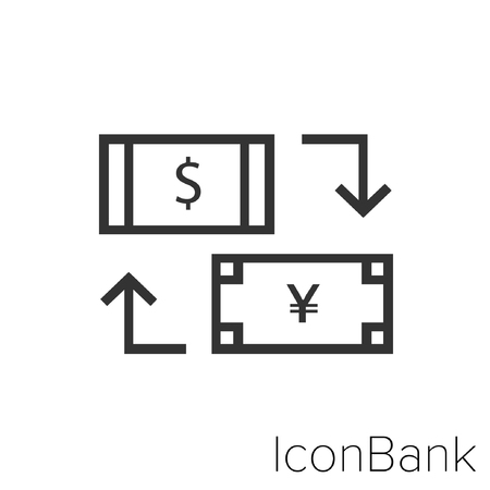 Icon Bank Exchange Dollar Canadian to Yen in black and white Illustration.