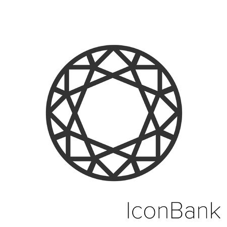Icon Bank Diamond Shapes Round in black and white Illustration.