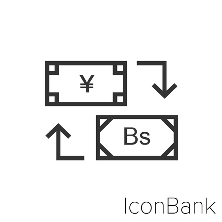 Icon Bank Exchange Yen to Bolivar in black and white Illustration.