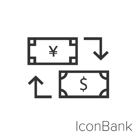 Icon Bank Exchange Yen to Dollar in black and white Illustration. Çizim