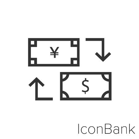Icon Bank Exchange Yen to Dollar in black and white Illustration. Illustration