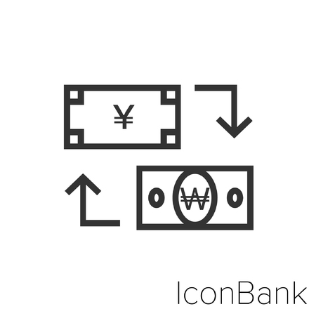 Icon Bank Exchange Yen to Won in black and white Illustration.