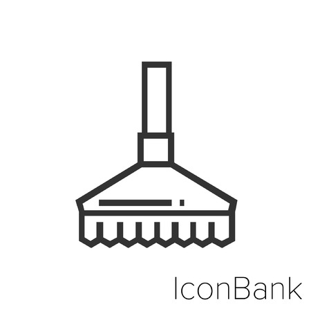Icon Bank cleaning brush in black and white Illustration. Ilustração