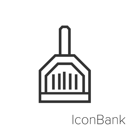 Icon Bank cleaning shovel in black and white Illustration. Ilustração