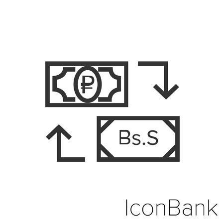 Icon Bank Exchange Ruby to Bolivar Sovereign in black and white Illustration.