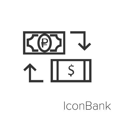Icon Bank Exchange Ruble to Dollar Canadian in black and white Illustration.