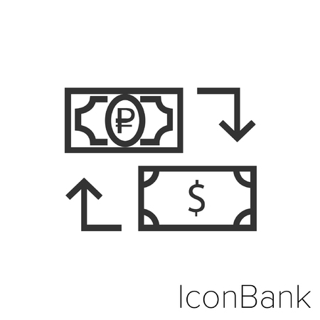 Icon Bank Exchange Ruble to Dollar in black and white Illustration.