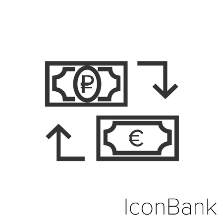 Icon Bank Exchange Ruble to Euro in black and white Illustration.