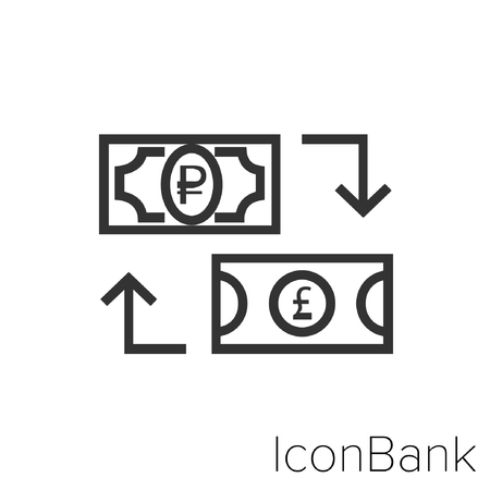 Icon Bank Exchange Ruble to Libra in black and white Illustration.