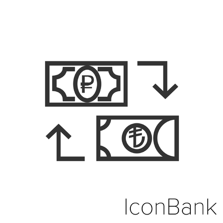 Icon Bank Exchange Ruble to Lira in black and white Illustration. Ilustração