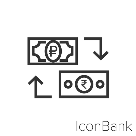 Icon Bank Exchange Ruble to Rupee in black and white Illustration.