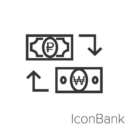 Icon Bank Exchange Ruby to Won in black and white Illustration.