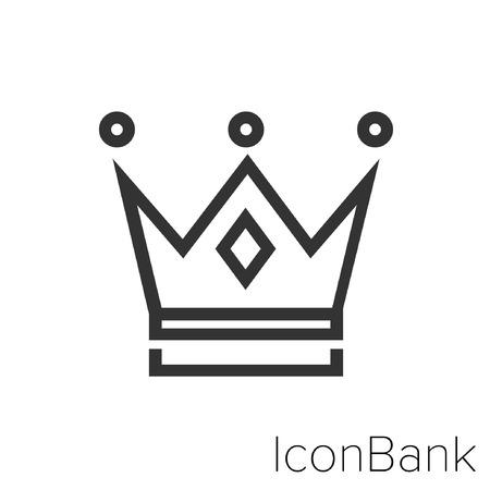 Icon Bank King is crown in black and white Illustration. Ilustração