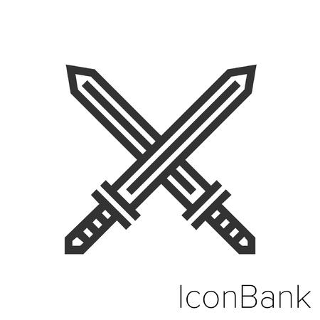Icon Bank swords in black and white Illustration. Ilustração