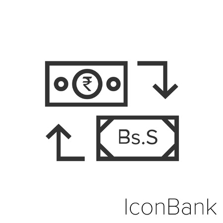 Icon Bank Exchange Rupee to Bolivar Soberano in black and white Illustration.