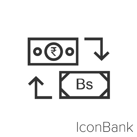 Icon Bank Exchange Rupee to Bolivar in black and white Illustration.