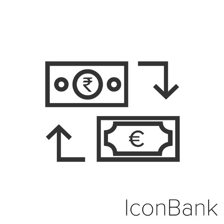 Icon Bank Exchange Rupee to Euro in black and white Illustration. Çizim