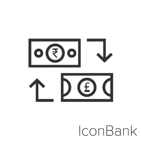 Icon Bank Exchange Rupee to Libra in black and white Illustration. Çizim