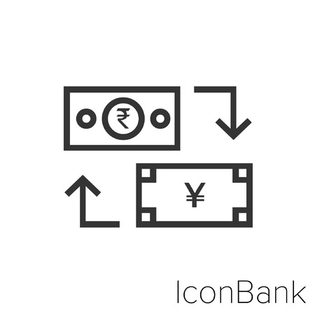 Icon Bank Exchange Rupee to Yen in black and white Illustration. Illustration