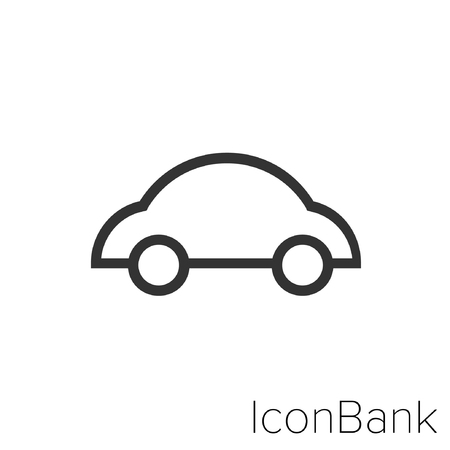 Icon Bank car truck in black and white Illustration.