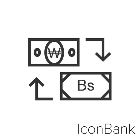 Icon Bank Exchange Won to Bolivar in black and white Illustration. Illustration