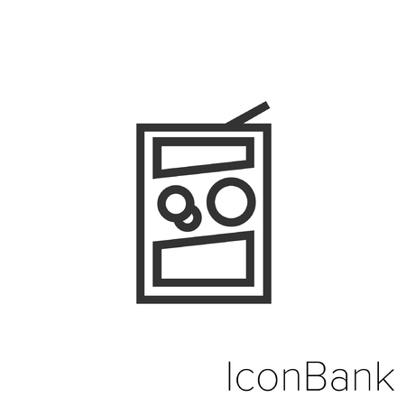 Icon Bank laundry detergent in black and white Illustration. Çizim