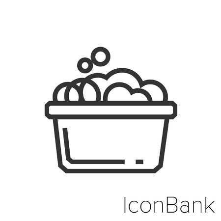 Icon Bank Tobo with soap in black and white Illustration. Çizim