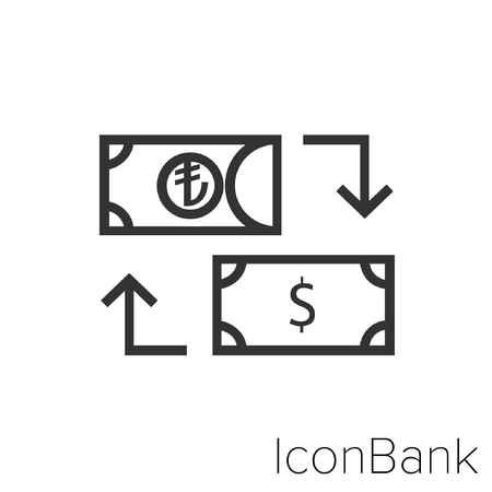 Icon Bank Exchange Lira to Dollar in black and white Illustration.