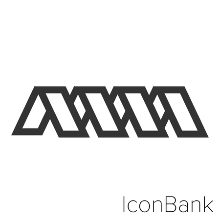Icon Bank bent tape in black and white Illustration. Illustration